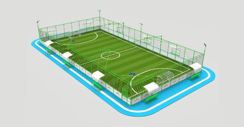 国体认证型钢结构笼式足球场